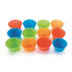 SET 12  MOLDES MUFFIN SILICONA  - COLORES VARIADOS